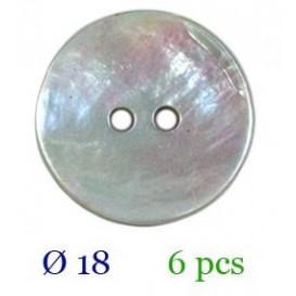 tube 6 boutons nacre 2 trous 18mm