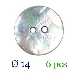 tube 6 boutons nacre 2 trous 14mm
