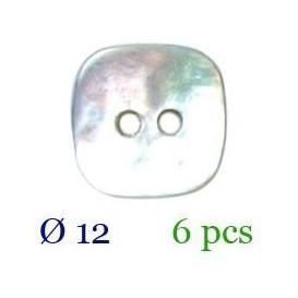tube 6 boutons nacre carré 2 trous 12mm