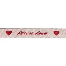 """ruban tissé """"fait avec amour"""""""