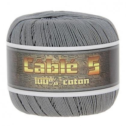 fil à crocheter coton cablé n°5 gris