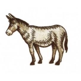 écusson âne marron et blanc thermocollant
