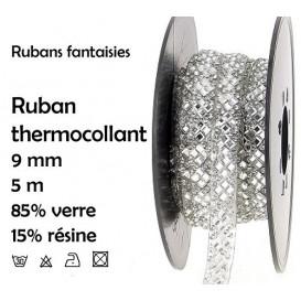 bobine 5m ruban strass argent thermocollant 9mm