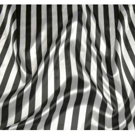 tissu satin carnaval rayures noir et blanc largeur 143cm x 50cm