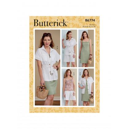 patron veste, ceinture, robe, haut Butterick B6774