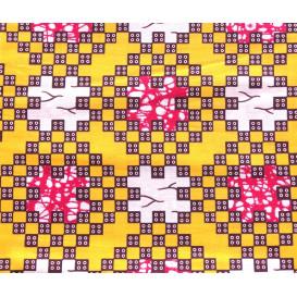 coupon 5,48m tissu africain wax jaune carrés
