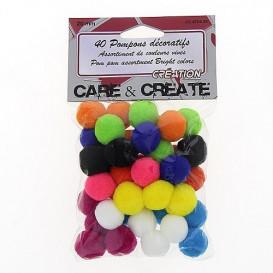 40 pompons couleurs vives 20mm