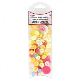 boutons assortiment camaïeu jaune/rose 50gr