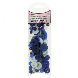 boutons assortiment camaïeu bleu 50gr