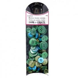boutons assortiment camaïeu bleu canard 50gr