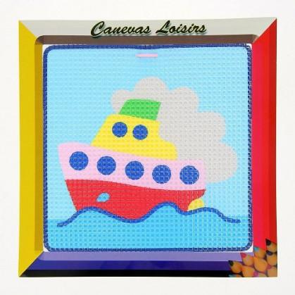 kit canevas enfant gros points bateau