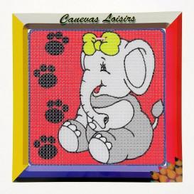kit canevas enfant gros points éléphant noeud jaune