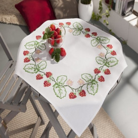 kit nappe à broder fraises 80x80cm