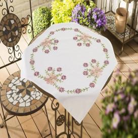 kit nappe à broder fleurs violet et rose 80x80cm
