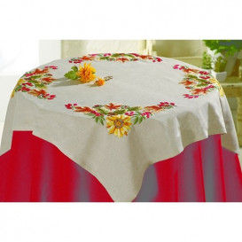 kit nappe à broder fleurs multicolore 80x80cm