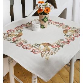 kit nappe à broder fleurs automne 80x80cm
