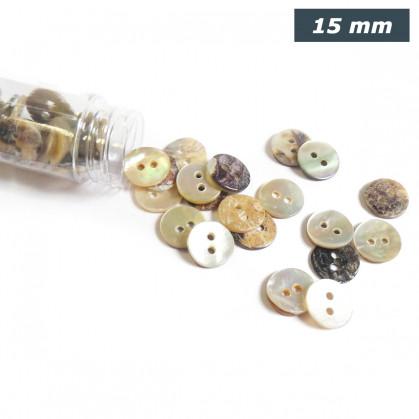 bouton nacre agoya rond 15mm