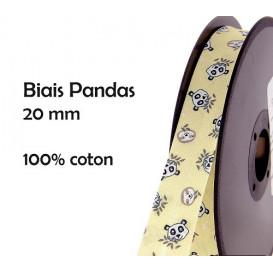 coupon 3m biais pandas jaune 20mm