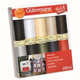 Set de 10 fils à coudre polyester Gütermann n°1