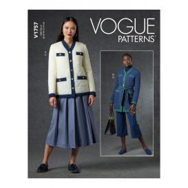 patron veste, ceinture, jupe Vogue V1757