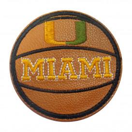 écusson ballon de basket simili cuir miami 6,8cm thermocollant