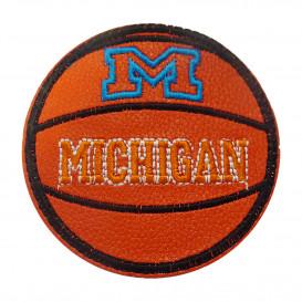 écusson ballon de basket simili cuir michigan 6,7cm thermocollant