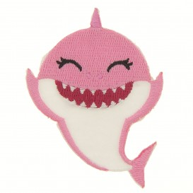écusson baby shark rose thermocollant