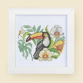 kit canevas point de croix toucan 15x15cm
