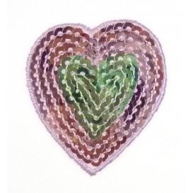 emblème paillettes coeur mauve/vert thermocollant
