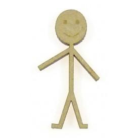 sujet en bois garçon dessin aux traits